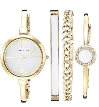Anne Klein Casual Style Round Party Style Quartz Watches Elegant Style