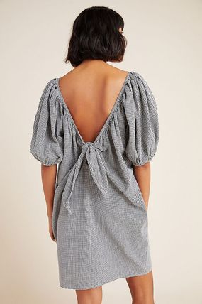 Short Gingham Casual Style V-Neck Cotton Party Style