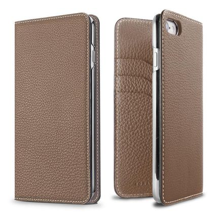 Plain Leather iPhone 8 Smart Phone Cases