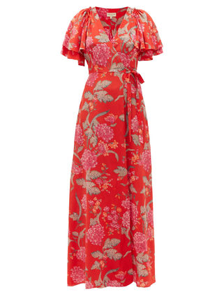 Beulah London Flower Patterns Casual Style Silk Long Short Sleeves