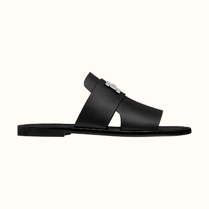 HERMES Unisex Plain Leather Sport Sandals Logo Loafers & Slip-ons