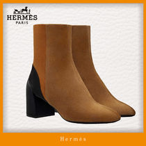 HERMES Casual Style Blended Fabrics Bi-color Plain Block Heels