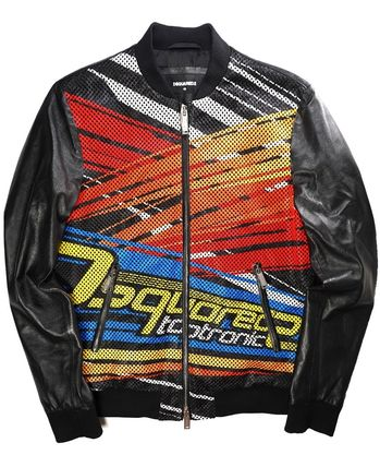 D SQUARED2 Blended Fabrics Leather Biker Jackets