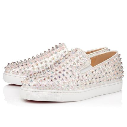 Christian Louboutin ROLLER BOAT Plain Toe Rubber Sole Casual Style Studded Leather Glitter