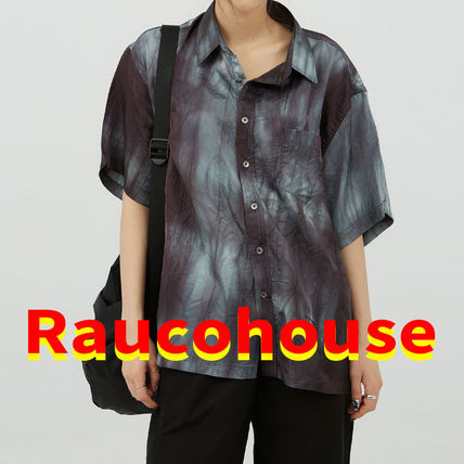 Raucohouse Shirts Unisex Street Style Tie-dye Short Sleeves Shirts