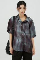 Raucohouse Shirts Unisex Street Style Tie-dye Short Sleeves Shirts 4