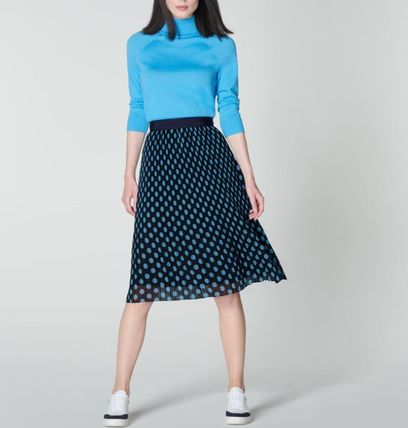 Dots Casual Style Pleated Skirts Bi-color Medium