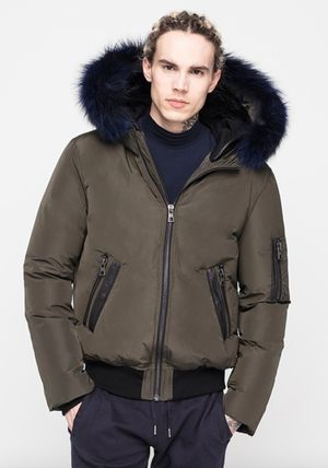 Short Fur Plain Down Jackets