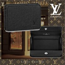 Louis Vuitton TAIGA Street Style Plain Leather Logo Coin Cases