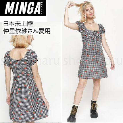 Short Gingham Tropical Patterns Casual Style A-line Cotton