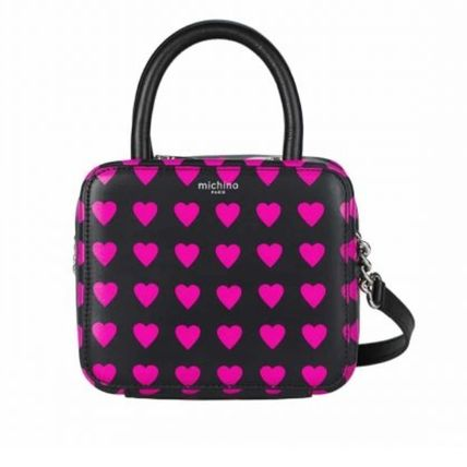 Zebra Patterns Heart Casual Style Calfskin 2WAY Crossbody