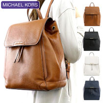 Michael Kors A4 Plain Leather Office Style Backpacks