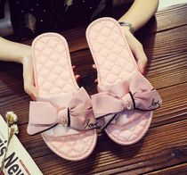 Platform Casual Style Studded Plain With Jewels Slippers
