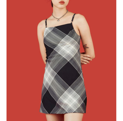 Short Other Plaid Patterns Casual Style Tight Sleeveless