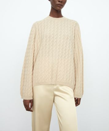 Crew Neck Cable Knit Casual Style Cashmere Long Sleeves