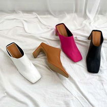 Square Toe Casual Style Faux Fur Plain Slippers Mules