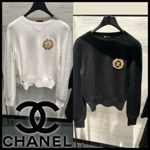 CHANEL Crew Neck Lace-up Casual Style Blended Fabrics Street Style