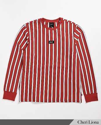 Crew Neck Stripes Street Style Long Sleeves