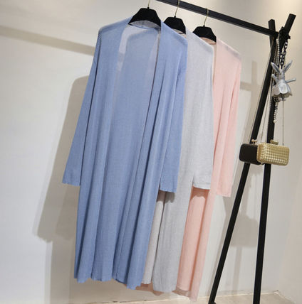 Casual Style Long Sleeves Plain Long Cardigans