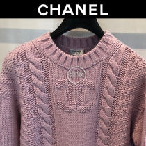 CHANEL Cashmere Long Sleeves Cotton Logo Cashmere