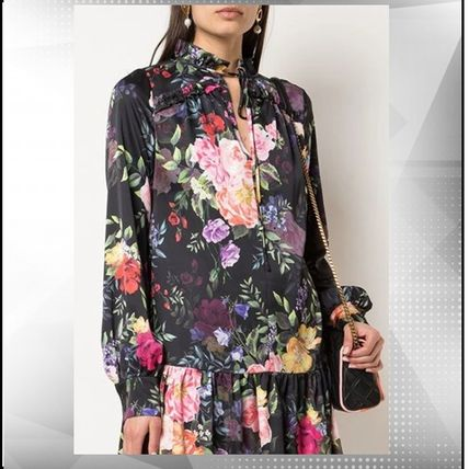 Flower Patterns Long Sleeves Party Style Elegant Style