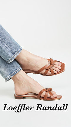 Open Toe Rubber Sole Casual Style Plain Leather Logo Sandals