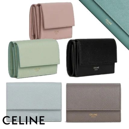 CELINE Folding Wallet Logo Calfskin Plain Folding Wallets