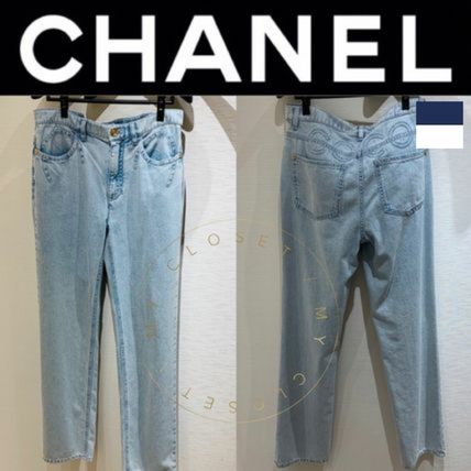 CHANEL ICON Denim Street Style Plain Long Handmade Logo Jeans