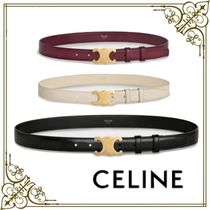 CELINE Triomphe Casual Style Plain Leather Party Style Office Style
