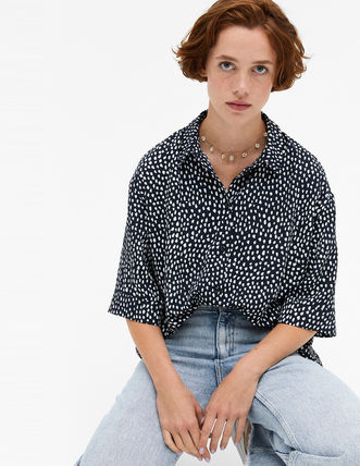 Short Flower Patterns Dots Casual Style Short Sleeves