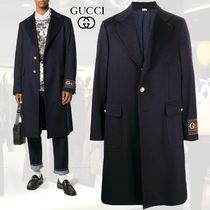 GUCCI Wool Cashmere Long Logo Chester Coats