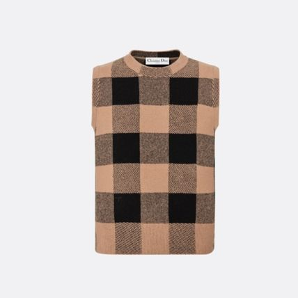 Christian Dior Crew Neck Other Plaid Patterns Casual Style Cashmere