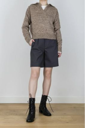 Short Casual Style Wool V-Neck Long Sleeves Plain