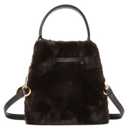Casual Style Faux Fur 2WAY Plain Shoulder Bags