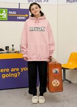 muahmuah Unisex Street Style Long Sleeves Plain Cotton Oversized Logo