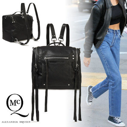 Casual Style Street Style 3WAY Plain Leather Logo Backpacks
