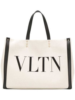 VALENTINO VLTN Casual Style Canvas Street Style A4 Logo Totes