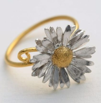 Casual Style Silver 22K Gold Rings
