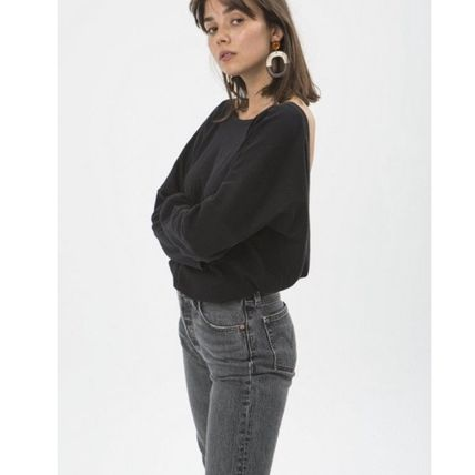 Crew Neck Casual Style V-Neck Long Sleeves Plain Cotton