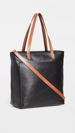 Casual Style 2WAY Plain Leather Office Style Crossbody Totes