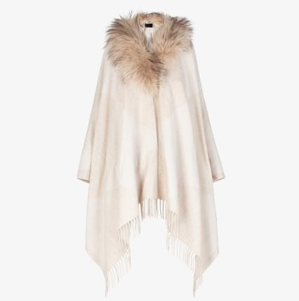 FENDI Monogram Wool Fur Blended Fabrics Medium Fringes