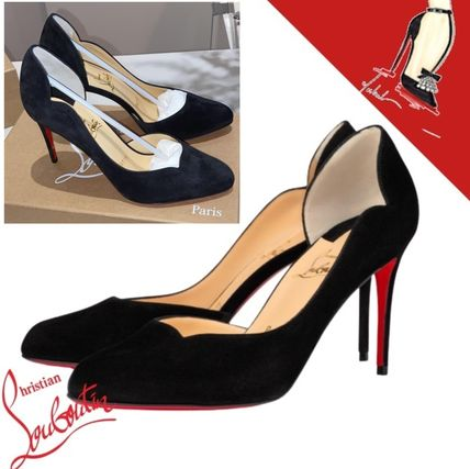 Christian Louboutin Formal Style  Logo Casual Style Suede Plain Leather