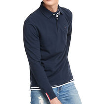 Tommy Hilfiger Long Sleeves Plain Cotton Logo Polos