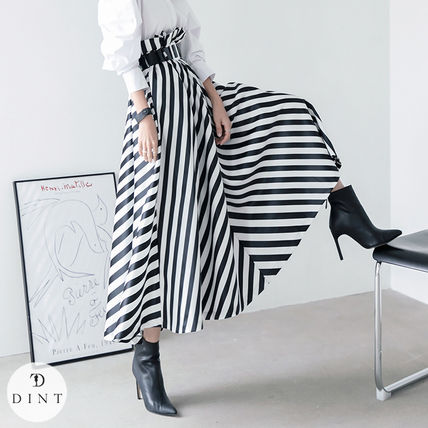 Flared Skirts Stripes Casual Style Long Party Style