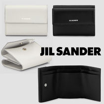 Jil Sander Plain Leather Folding Wallet Logo Folding Wallets