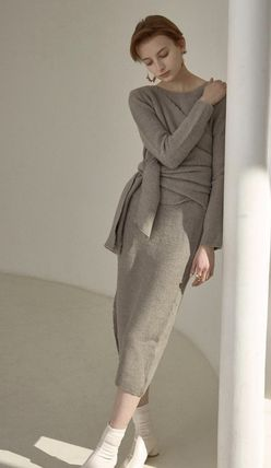 Crew Neck Wrap Dresses Casual Style Wool Long Sleeves Plain