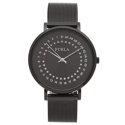 FURLA Casual Style Leather Round Party Style Quartz Watches