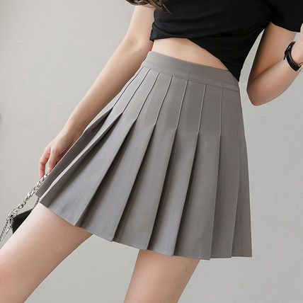 Short Casual Style Pleated Skirts Plain Skirts