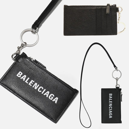 BALENCIAGA Unisex Calfskin Street Style Card Holder Logo Card Holders