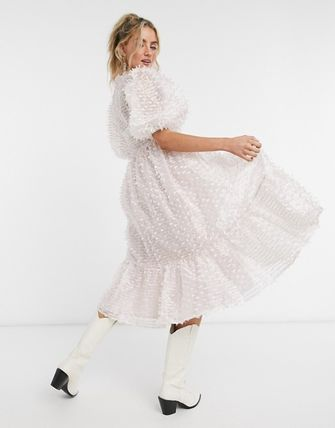 Casual Style V-Neck Medium Puff Sleeves Tired Dresses